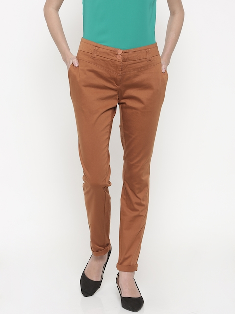 Park Avenue Women Brown Tapered Fit Solid Regular Trousers