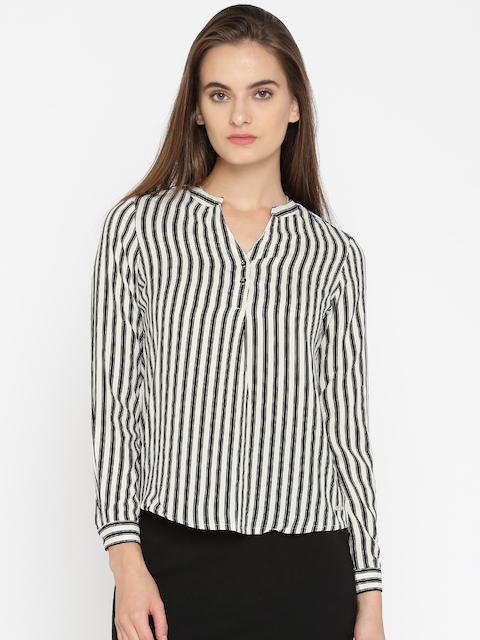 Park Avenue Woman Black & Off-White Striped Shirt Style Top
