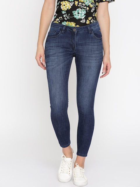 Park Avenue Woman Blue Skinny Fit Mid-Rise Clean Look Stretchable Jeans