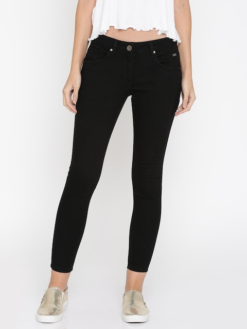Park Avenue Woman Black Slim Fit Mid-Rise Clean Look Stretchable Jeans