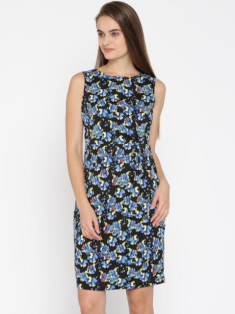 Park Avenue Woman Black Printed Sheath Dress