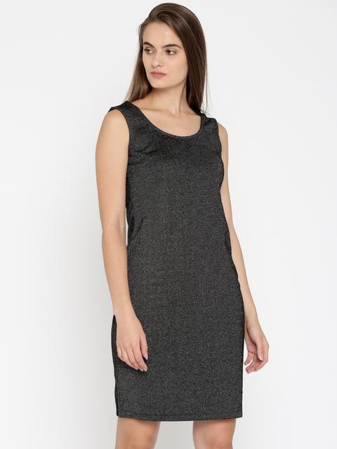 Park Avenue Woman Black Self Design Sheath Dress