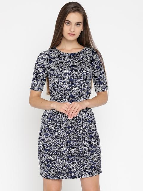 Park Avenue Woman Blue & Black Self Design Sheath Dress