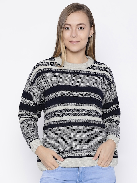 Pepe Jeans Women Cream-Coloured & Navy Blue Striped Pullover