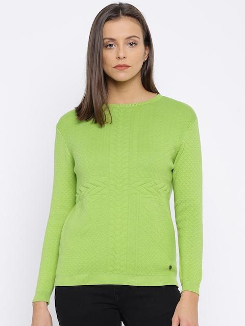 Pepe Jeans Women Green Self Design Pullover