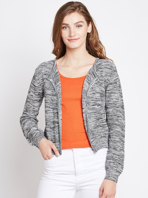 Pepe Jeans Women Grey & Black Solid Cardigan
