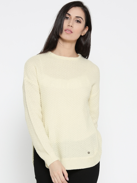 Pepe Jeans Women Cream-Coloured Self-Design Sweater