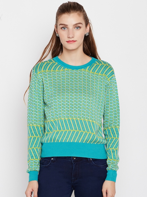 Pepe Jeans Women Green Self-Design Sweater