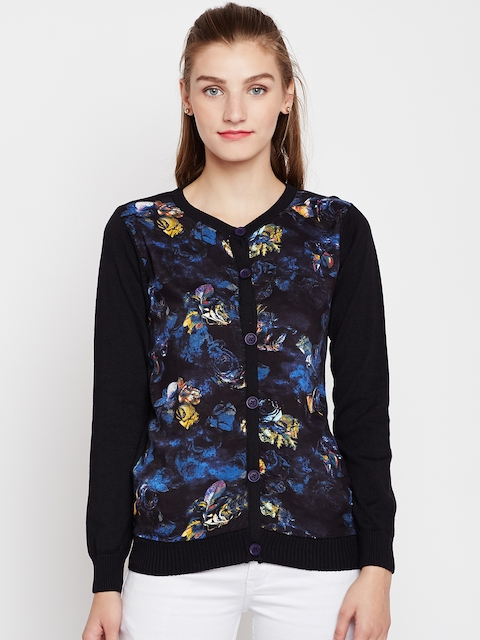Pepe Jeans Women Black & Blue Printed Cardigan