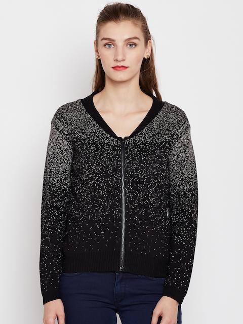 Pepe Jeans Women Black & Grey Self-Design Cardigan