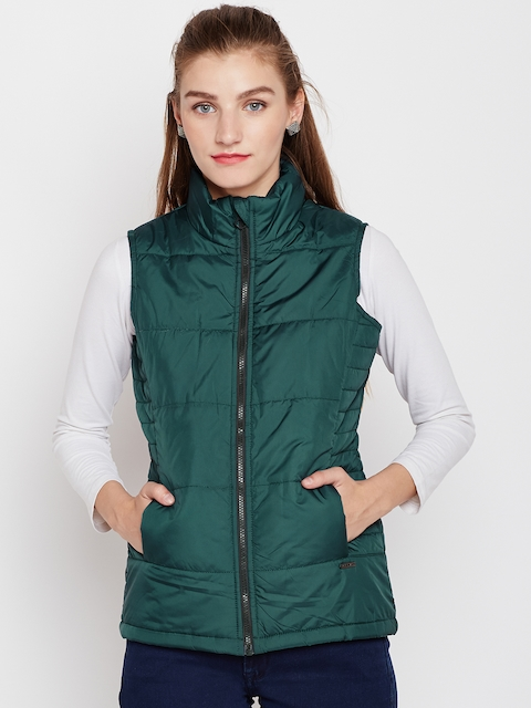 Pepe Jeans Women Green Solid Sleeveless Padded Jacket