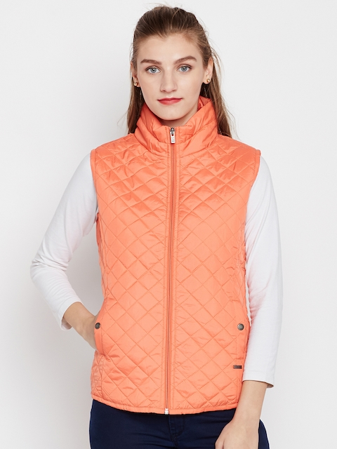 Pepe Jeans Women Orange Solid Quilted Jacket