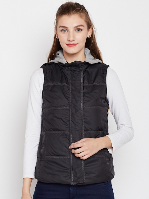 Pepe Jeans Women Black Solid Hooded Padded Jacket
