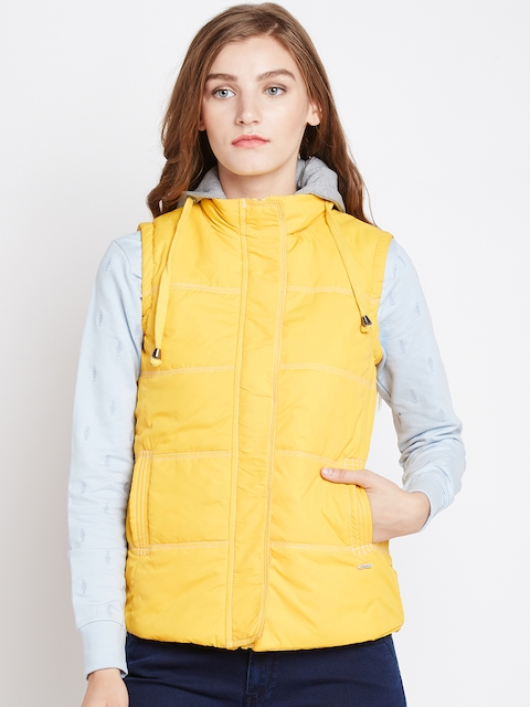 Pepe Jeans Women Yellow Solid Padded Jacket with Detachable Hood