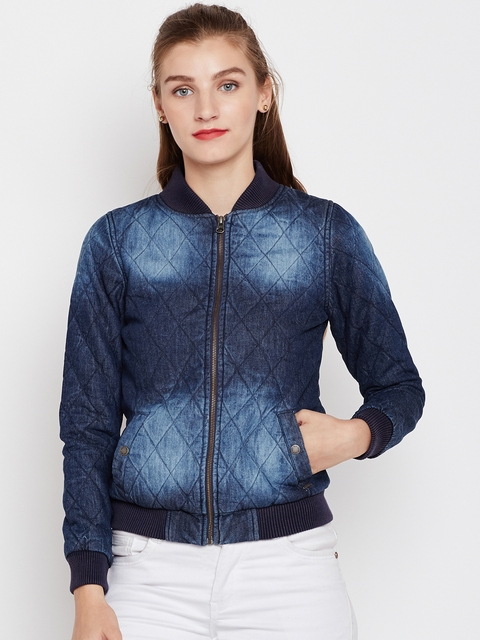 Pepe Jeans Women Blue Quilted Denim Jacket
