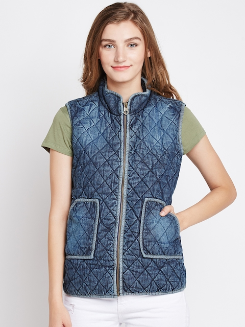 Pepe Jeans Women Blue Solid Quilted Denim Jacket