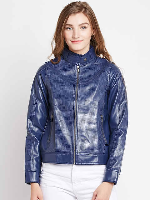 Pepe Jeans Women Blue Solid Biker Jacket