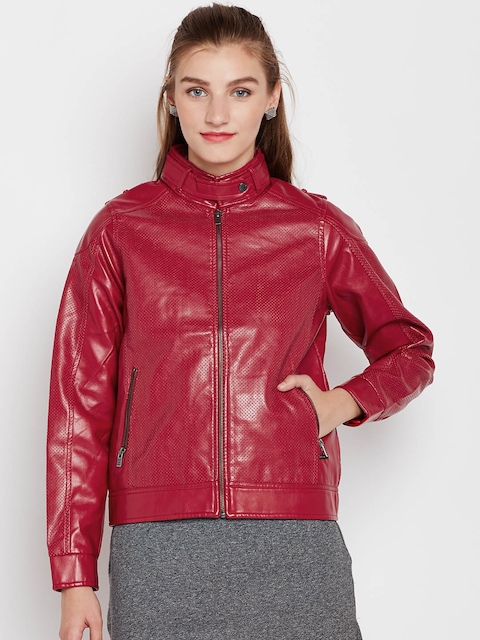 Pepe Jeans Women Red Solid Biker Jacket