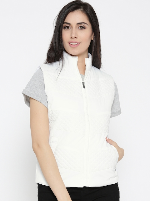 Pepe Jeans Women White Solid Sleeveless Quilted Jacket