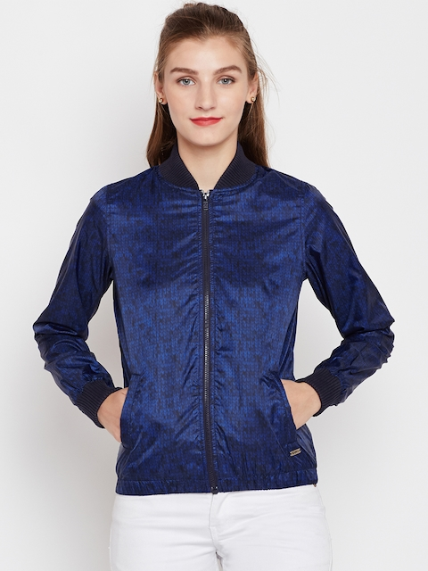 Pepe Jeans Women Blue Printed Bomber Jacket