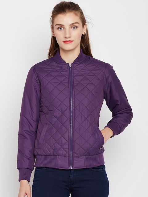 Pepe Jeans Women Purple Solid Quilted Jacket