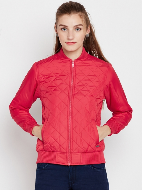 Pepe Jeans Women Red Solid Quilted Bomber Jacket