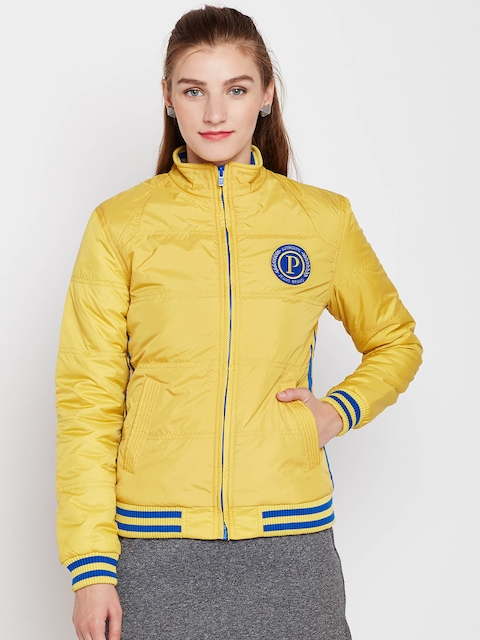 Pepe Jeans Women Yellow Solid Bomber Jacket