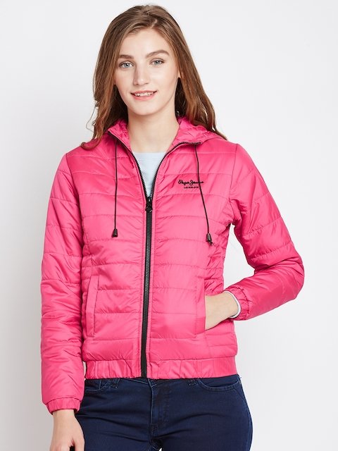 Pepe Jeans Women Pink Solid Hooded Bomber Jacket