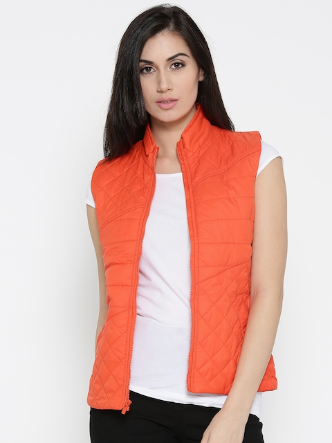 Pepe Jeans Women Orange Solid Sleeveless Quilted Jacket