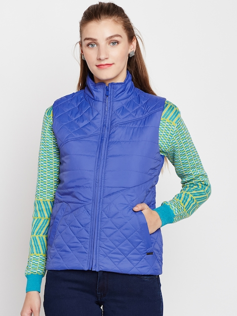 Pepe Jeans Women Blue Solid Sleeveless Quilted Jacket