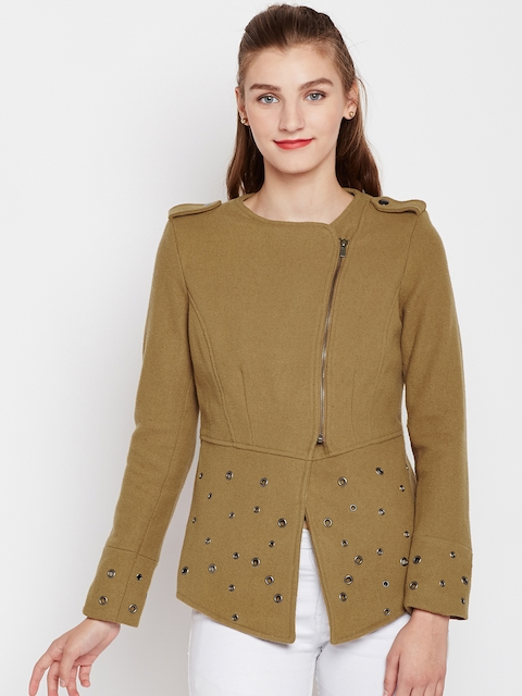 Pepe Jeans Women Brown Solid Asymmetric Closure Tailored Jacket