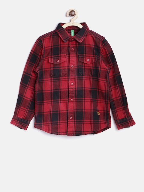 United Colors of Benetton Boys Red & Black Checked Casual Shirt