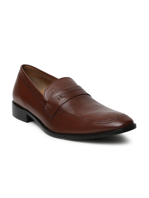 Arrow Men Tan Brown Gabino Leather Formal Slip-Ons