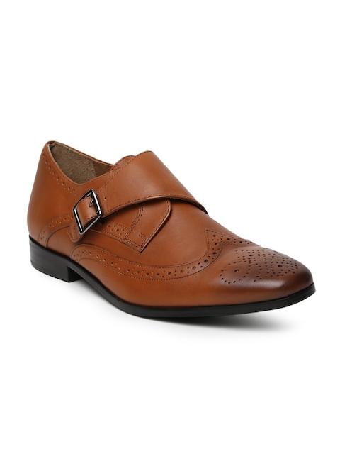 Arrow Men Brown Ben Leather Monk Shoes