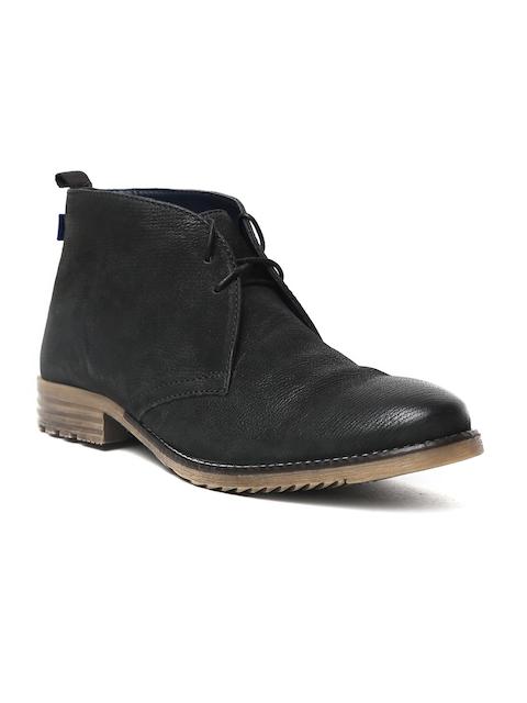 Arrow Men Black Solid Leather Gustav Mid-Top Flat Boots