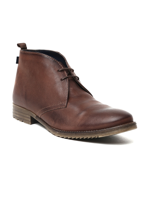 Arrow Men Brown Solid Leather Gustav Mid-Top Flat Boots