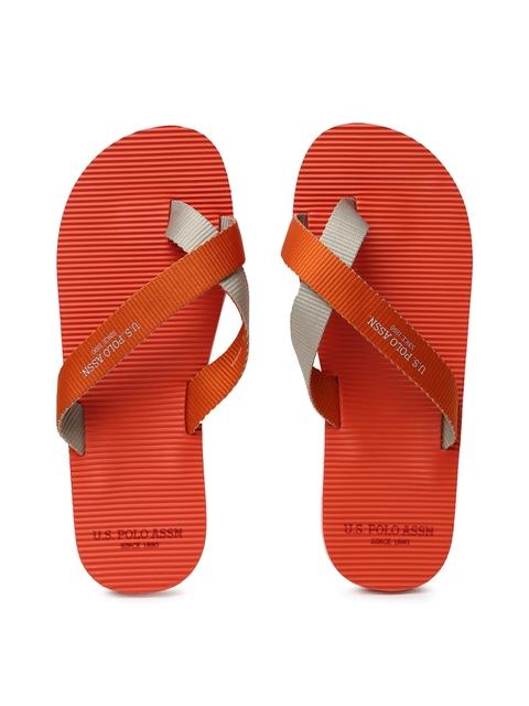 U.S. Polo Assn. Men Orange Jackson Flip-Flops