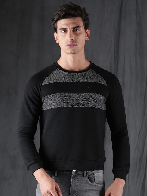 WROGN Men Black Self Design Sweatshirt