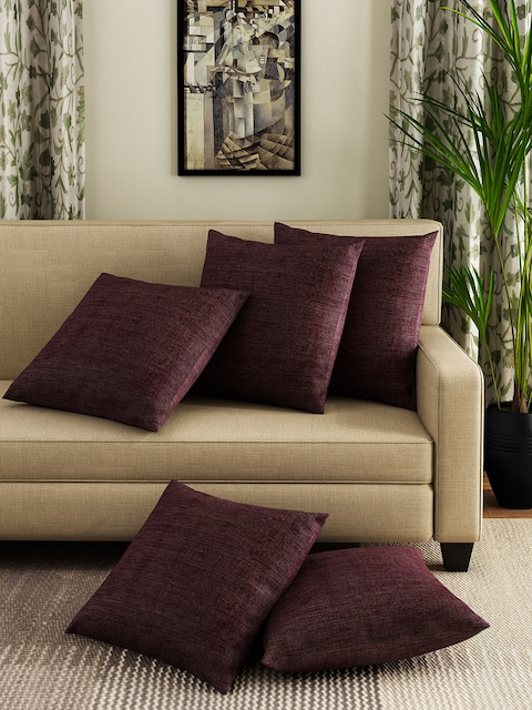 HOUZZCODE Set of 5 Burgundy 16 x 16 Square Cushion Covers
