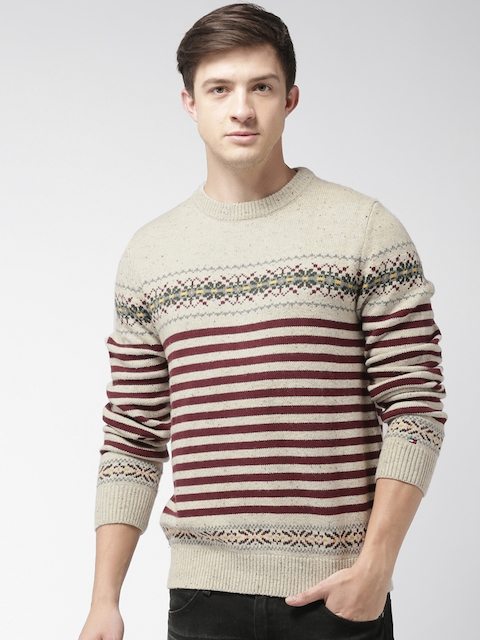 Tommy Hilfiger Men Beige & Maroon Striped Pullover