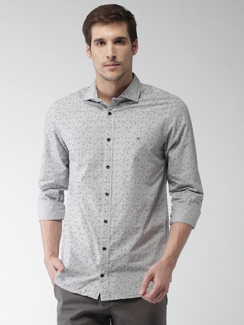 Tommy Hilfiger Men Grey Slim Fit Checked Casual Shirt