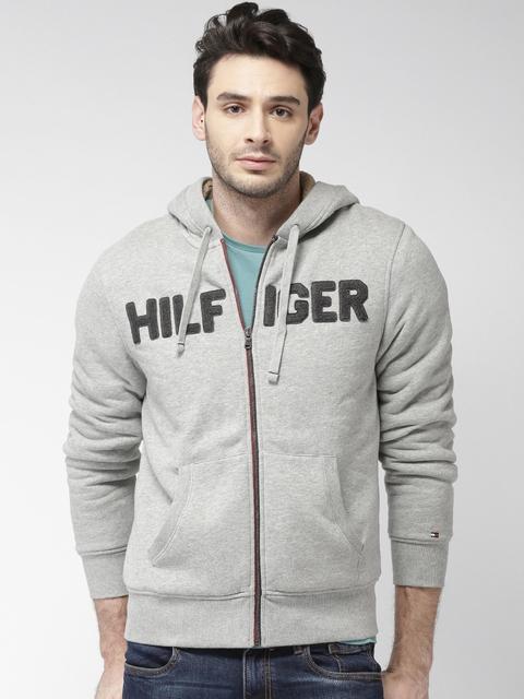 Tommy Hilfiger Men Grey Solid Hooded Sweatshirt