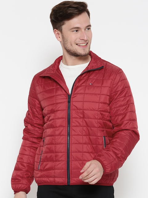 Tommy Hilfiger Men Red Solid Quilted Jacket