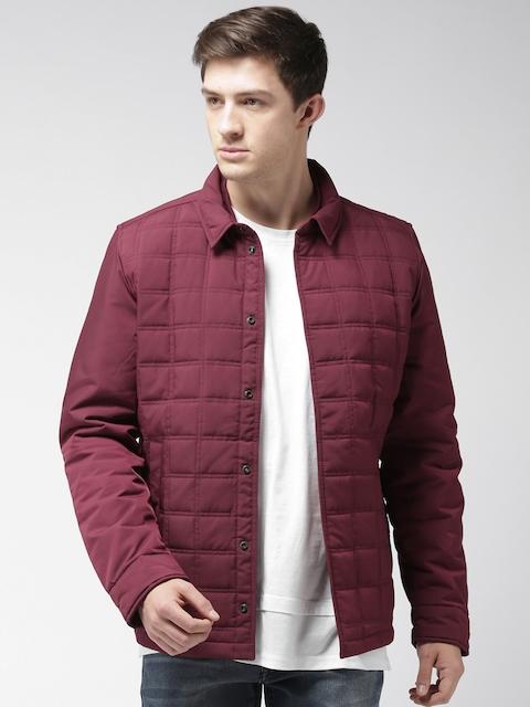 Tommy Hilfiger Men Burgundy Solid Quilted Jacket