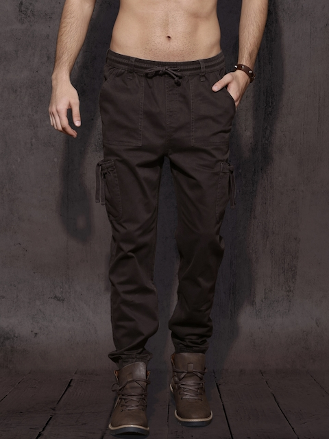 Roadster Men Coffee Brown Regular Fit Solid Joggers