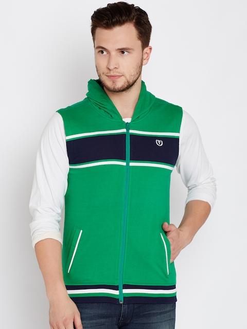 Van Heusen Sport Men Green Striped Hooded Sweatshirt
