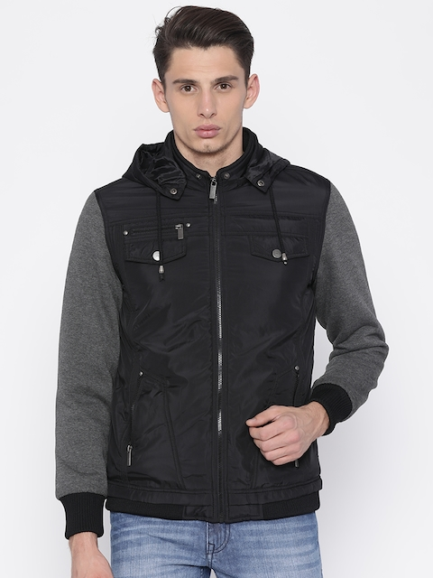 V Dot Men Black Solid Tailored Hooded Jacket