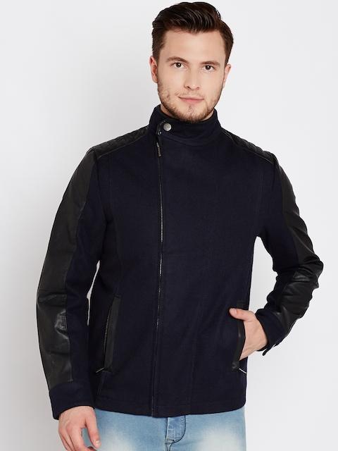V Dot Men Black Solid Asymmetric Closure Open Front Jacket