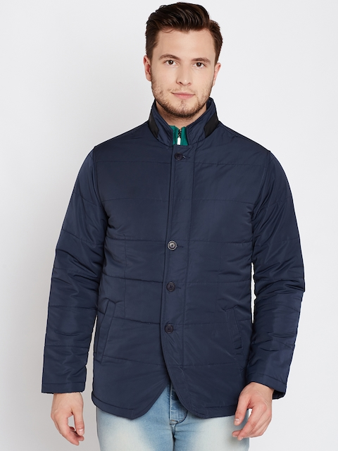 V Dot Men Navy Solid Padded Jacket