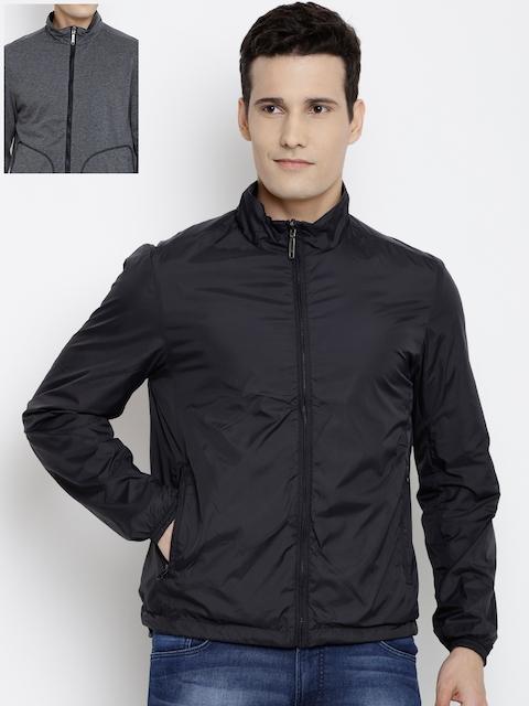 John Players Men Black & Grey Reversible Tailored Jacket